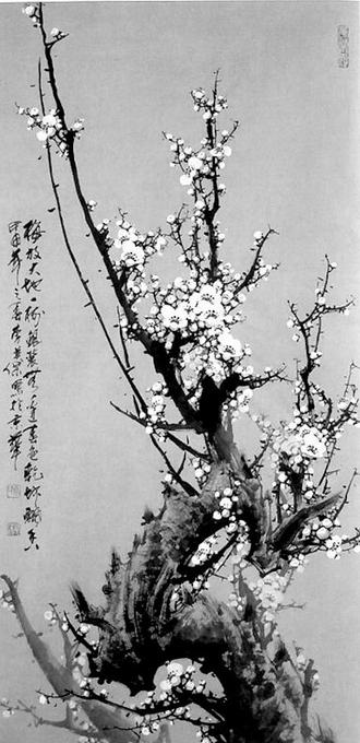 梅放(中国画)(图);; 李英保国画梅花图片; 中国画梅花技法