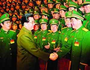 锦涛在北京会见武警部队党委扩大会议全体人员.新华社记者李刚摄-图片