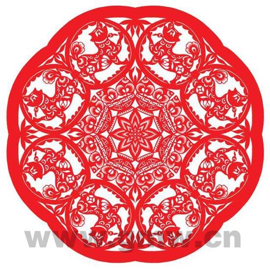 八角剪纸团花的一折图片 六折团花剪纸图案画法,八折团花剪