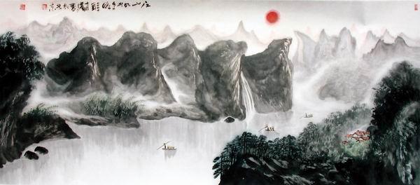 河流汇聚大海中国画