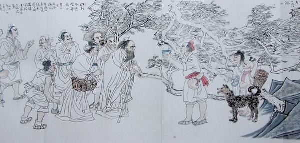 张阅在人物画上是有大作品的,前些年,他创作的两帧客家迁徙图长卷图