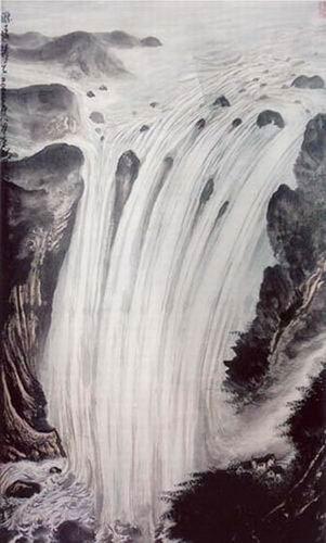 壁纸 风景 国画 旅游 瀑布 山水 桌面 301_500 竖版 竖屏 手机