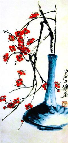 花瓶红花插花(中国画)齐白石