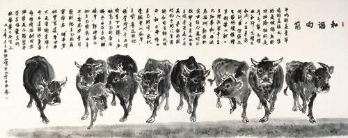 """张继山专攻画牛人称""""第一牛""""图片"""