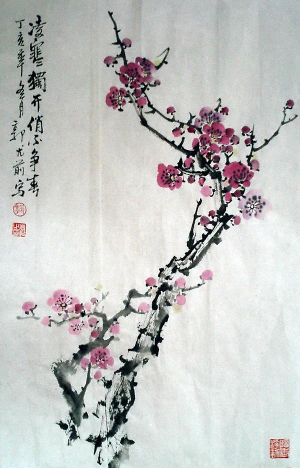 梅花画法教程-百度经验, 梅花画法教程,画梅花只需画枝干和花朵,没有叶子,画法是先画一条主干,再画分岔的枝条,画树枝时由粗到细地画,要棱角分明,不要画成圆弧形。然后再画梅花,画梅花的时候,完全开放的花朵和没有绽开的花朵交错地画,每朵梅花的花瓣也不要完全一样,花朵要画得有大有小,看着才自然.