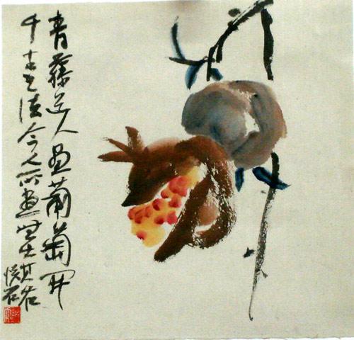 幼儿画水墨画葡萄-吴悦石 葡萄