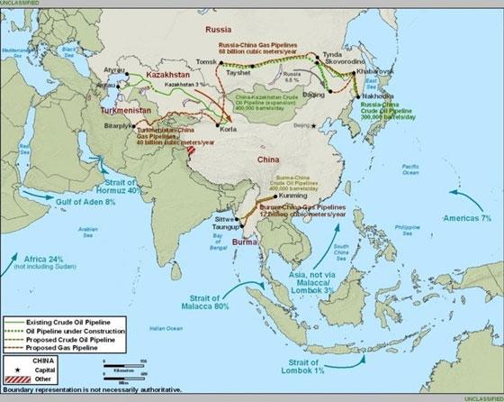 (注意:图中的中国地图地理边界是美国国防部方面画法)
